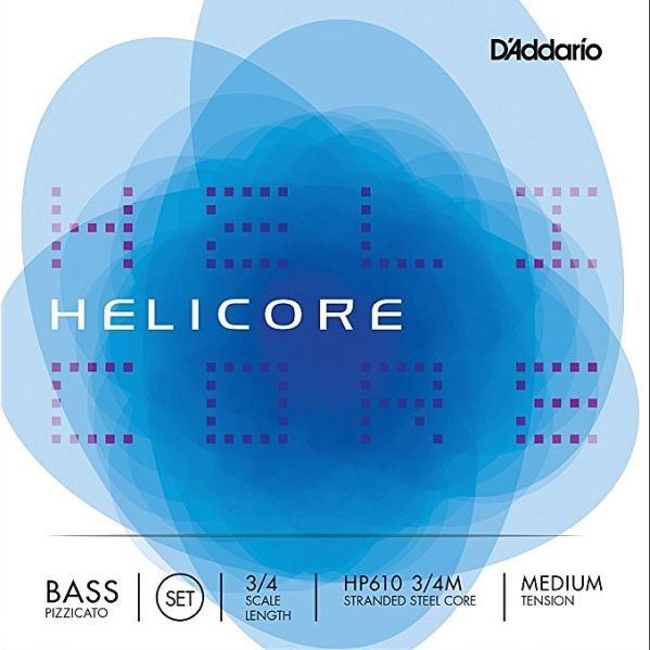 D'Addario Helicore 3/4 Bass Set, nickel/steel, Pizzicato, medium