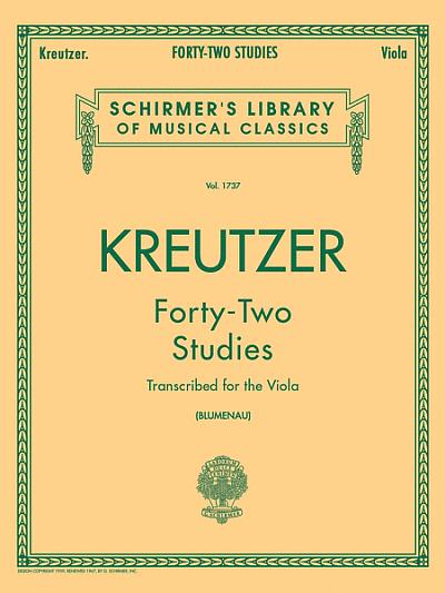 Kreutzer: 42 Studies for Violin arr. for Viola
