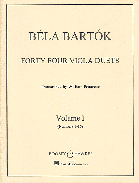 Bartok: 44 Duos for 2 Violins arranged for Viola, Vol 1